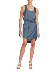 Saks Fifth Avenue Red Chambray Blouson Dress Stone Blue