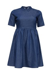 Lost Ink Curve Skater Dress In Denim With Collar Blue
