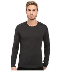 John Varvatos Long Sleeve Crew Neck Sweater W Contrast Piping Y1329s3b Charcoal Heather Men's Sweater Gray