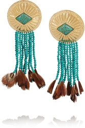 Aura Lie Bidermann Navajo Gold Plated Turquoise And Feather Earrings