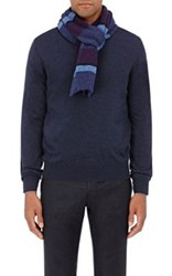 Inis Meain Men's Striped Wool Scarf Purple