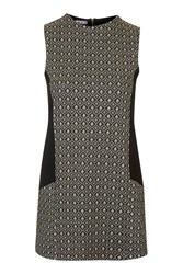 Jacquard Contrast Shift Dress By Wal G Beige