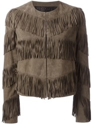 Drome Fringed Jacket Nude And Neutrals