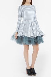 Natasha Zinko Stripe Net Skirt Dress Grey