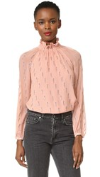Rebecca Taylor Long Sleeve Metallic Top Nude