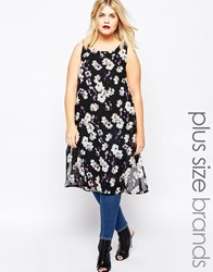 Ax Paris Plus Tunic Top With Side Splits In Floral Print Black