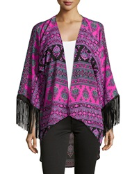 Romeo And Juliet Couture Printed Fringe Trim Kimono Berry Periwinkle