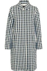 J.Crew Gingham Cotton Trench Coat Navy
