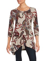 Context Paisley Asymmertic Tunic Light Taupe