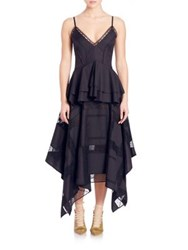 Derek Lam Tiered Peplum Dress Navy