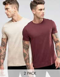 Asos 2 Pack T Shirt With Crew Neck In Beige Red Multi