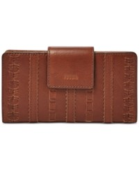 Fossil Emma Leather Tab Clutch Wallet Brown