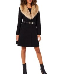 Miss Selfridge Faux Fur Collar Fit And Flare Coat Black