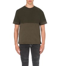 Kenzo Cotton Jersey And Satin T Shirt Khaki