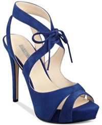 Guess Women's Hedday Ankle Tie Strappy Platform Dress Sandals Women's Shoes Dark Blue Suede