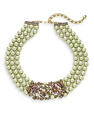Heidi Daus Bouquet Of Beauty Swarovski Crystal And Multicolor Rhinestone Beaded Necklace Green