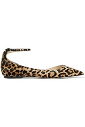 Jimmy Choo Lucy Leopard Print Calf Hair Pointed Toe Flats Leopard Print
