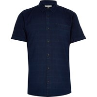 River Island Mens Navy Denim Grid Print Short Sleeve Shirt