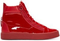 Giuseppe Zanotti Red Patent Leather High Top London Sneakers