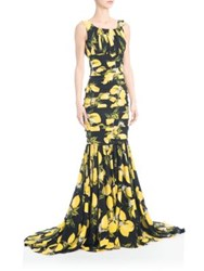 Dolce And Gabbana Charmeuse Lemon Print Gown Black Yellow