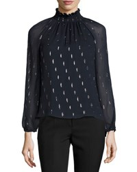 Rebecca Taylor Metallic Chiffon Long Sleeve Top Navy