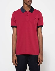 Fred Perry Split Collar Pique Shirt Rosso