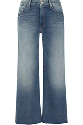 Mother The Roller Cropped Mid Rise Wide Leg Jeans Mid Denim