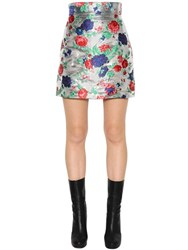 Msgm High Waist Floral Brocade Mini Skirt