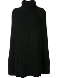 By. Bonnie Young Ribbed Knit Cape Black