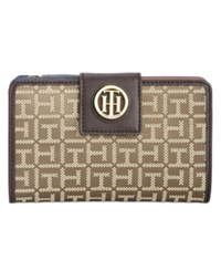 Tommy Hilfiger Th Serif Snap Wallet Tan Dark Chocholate