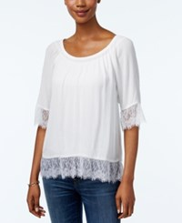 Inc International Concepts Petite Lace Trim Peasant Blouse Only At Macy's Bright White