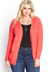 Forever 21 Fitted V Neck Cardigan Coral Pink