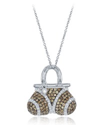 Diana M. Jewels 18K Brown And White Diamond Handbag Pendant Necklace 1.6Tcw