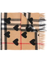 Burberry Printed Heart Checked Scarf Black