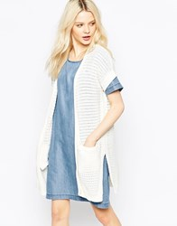 B.Young Short Sleeve Longline Cardigan Off White