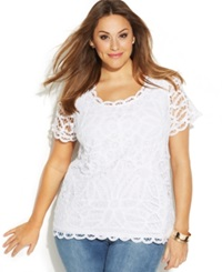 Inc International Concepts Plus Size Short Sleeve Lace Top Bright White