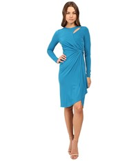 Catherine Malandrino Long Sleeve Keyhole Dress Ryu Teal Women's Dress Blue