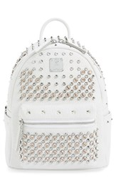 Mcm 'Studded Small' Leather Backpack White