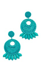 Kenneth Jay Lane Seed Bead Hoop Earrings Turquoise