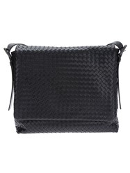 Bottega Veneta Woven Messenger Bag Black