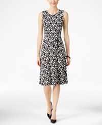 Charter Club Printed Fit And Flare Dress Only At Macy's Deep Black Combo