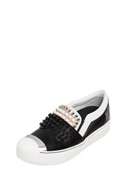 Fendi Karl Studded Leather Slip On Sneakers