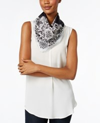 Vince Camuto Lace Crossing Square Scarf Black Beauty