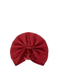 Valentino Pleated Silk Twill Turban Hat Red