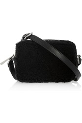 Sandro Aida Shearling And Leather Shoulder Bag Black