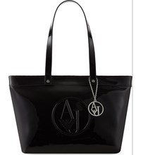 Armani Jeans Patent Logo East West Tote Black