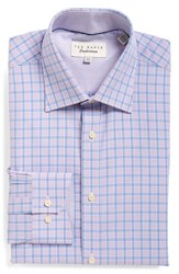 Men's Ted Baker London 'Hamburg' Trim Fit Plaid Dress Shirt Purple