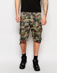 G Star G Star Cargo Shorts Rovic Loose Fit Green All Over Camo Print Kit Army Green Ao