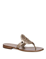 Jack Rogers Georgica Leather Thong Sandals Silver