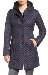 Larry Levine Women's Two Tone Hooded Bib Quilted Coat Midnight